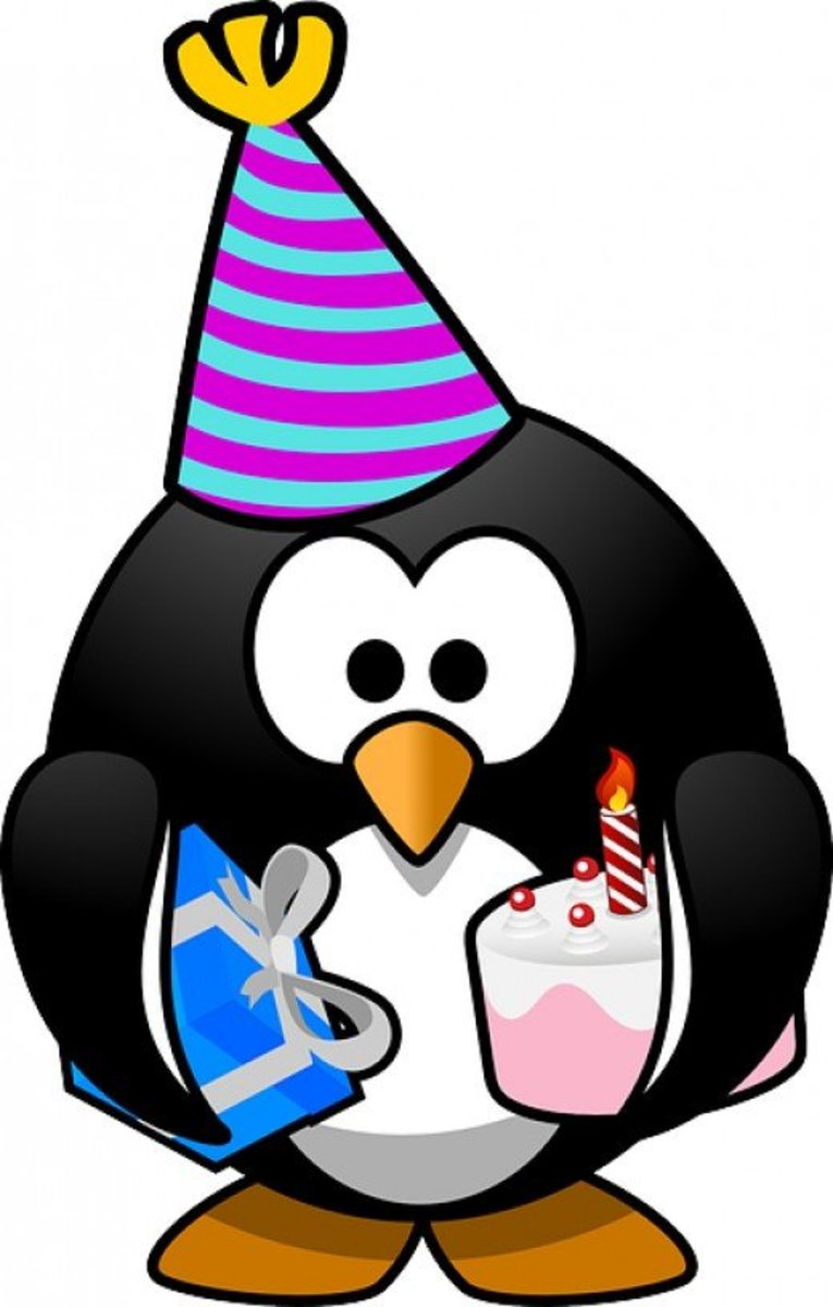 Big Penguin with Party Hat, Birthday Cake and Present Clip Art