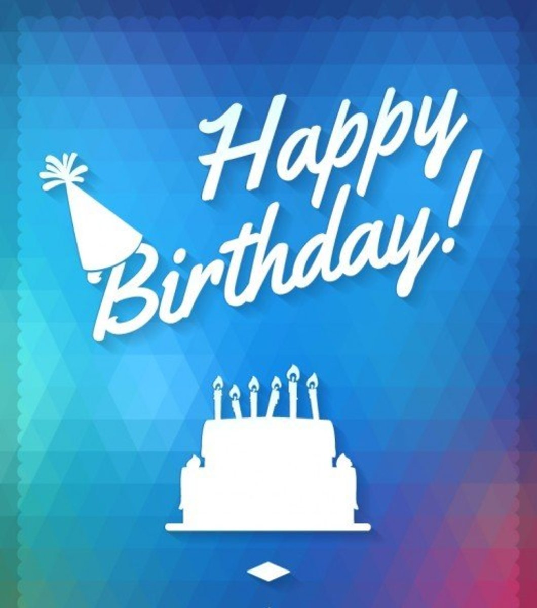 White Happy Birthday Font with Cake and Party Hat