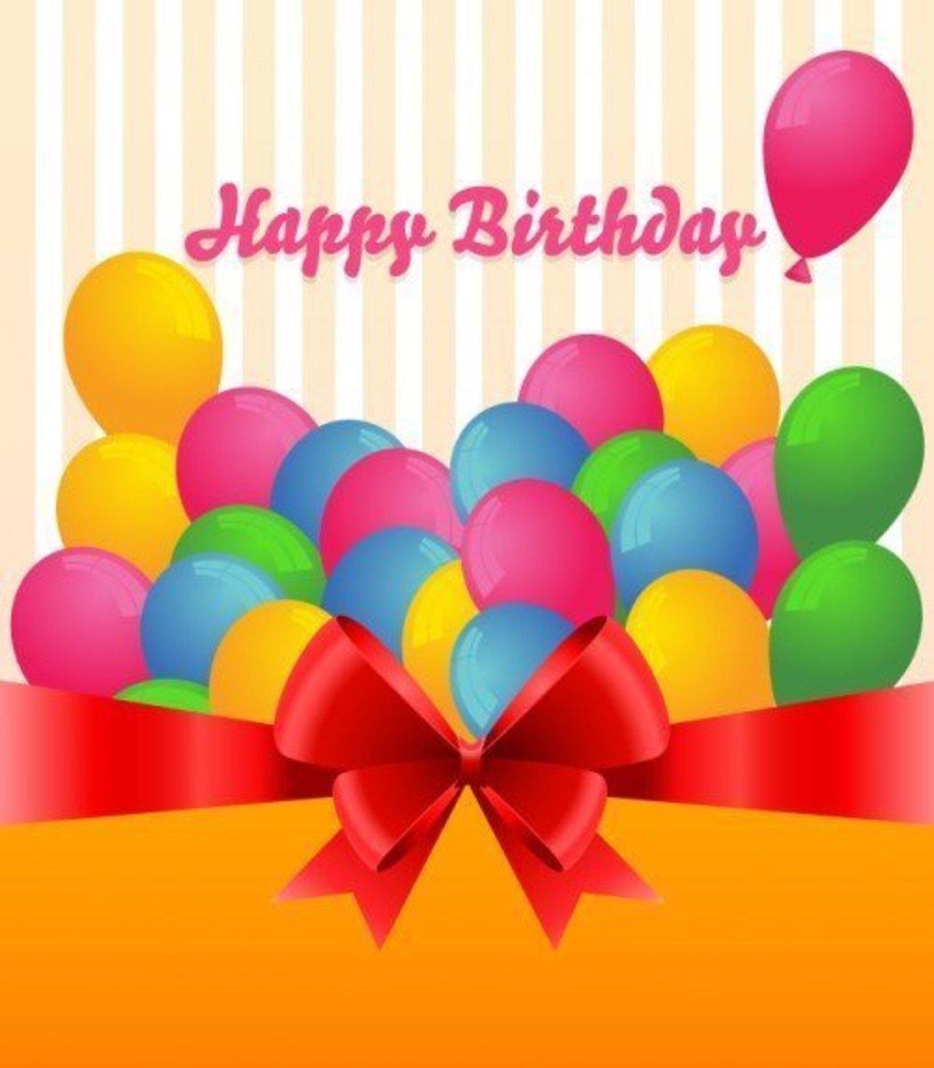 Happy Birthday, Present and Balloons
