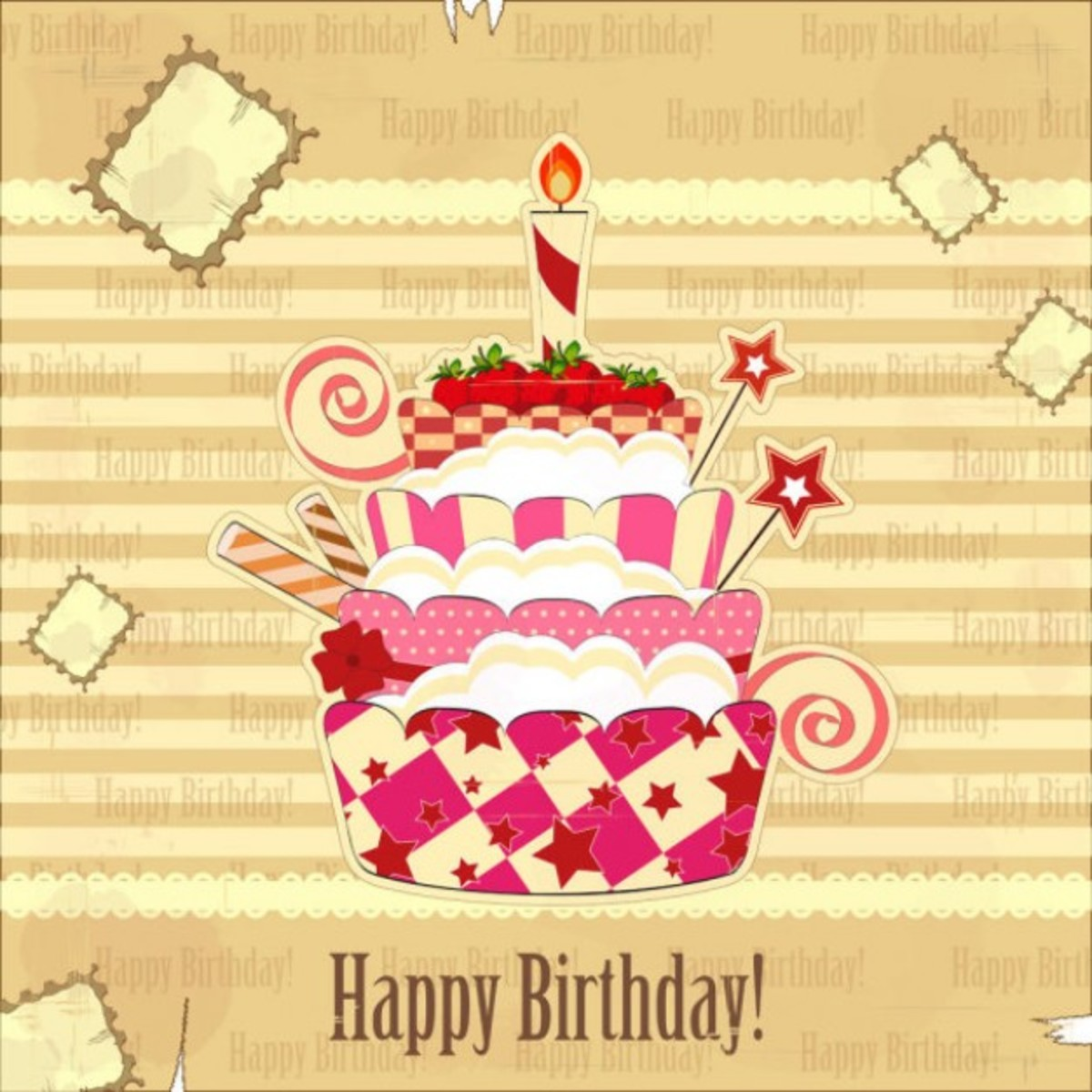 Birthday Cake with Strawberries and Candies on Grunge Background