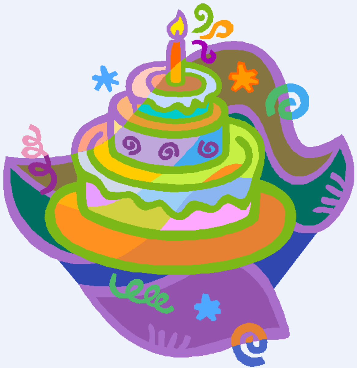 Birthday Cake Clip Art with Swirls