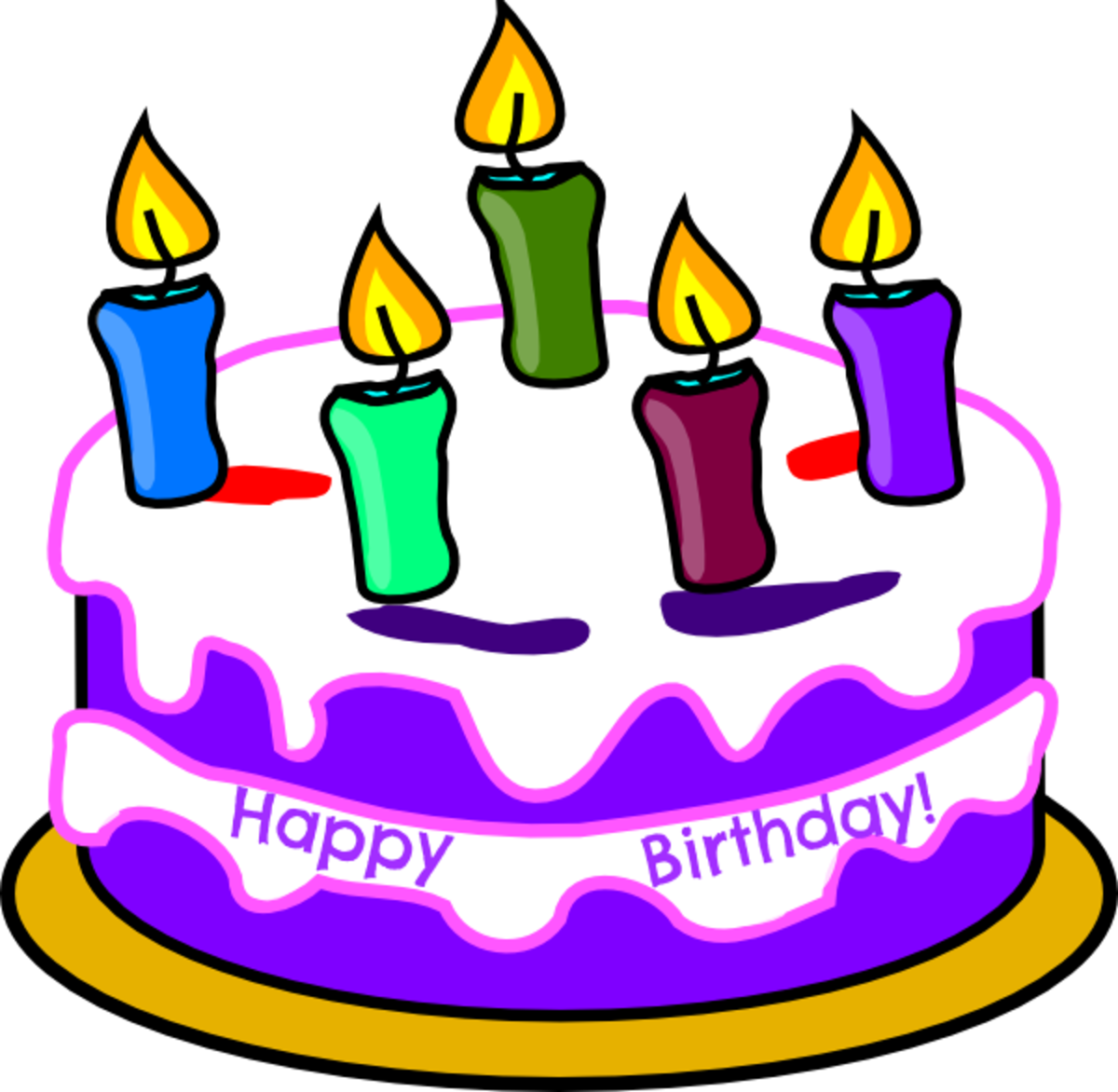 Happy Birthday Cake with White and Purple Frosting