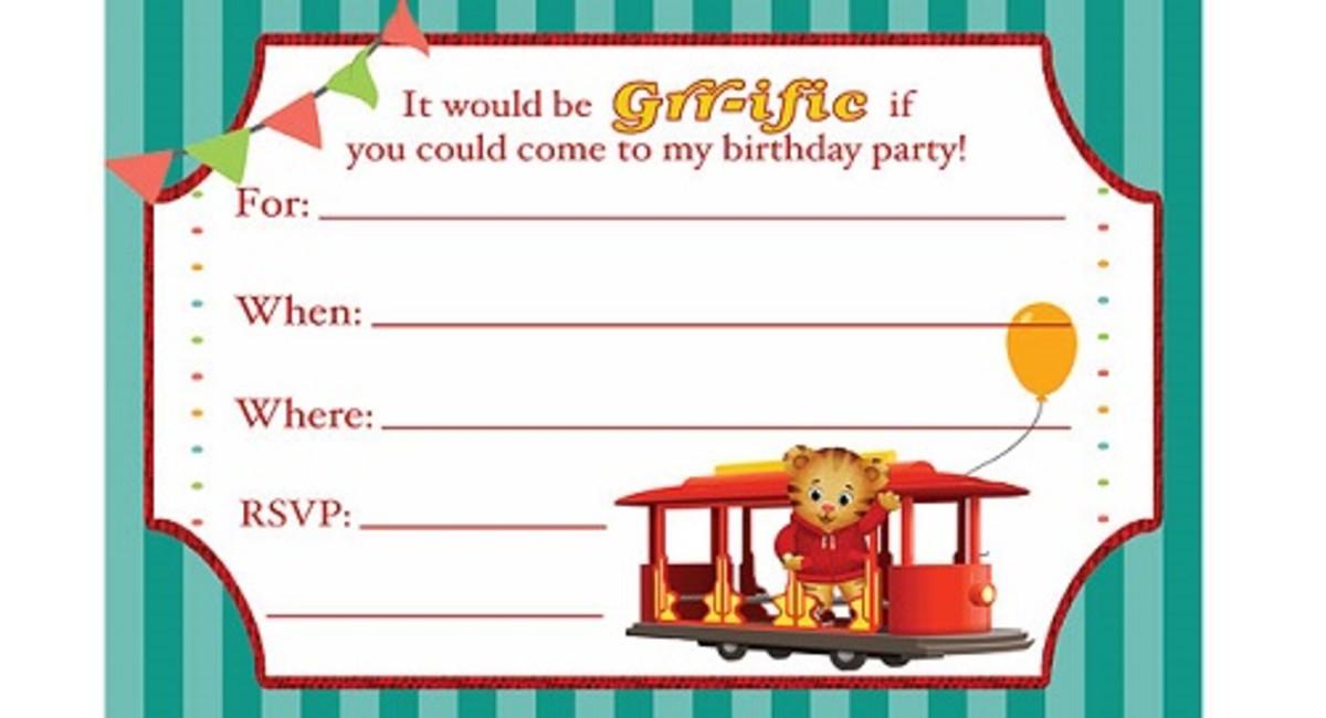 Free Daniel Tiger Party Invitations