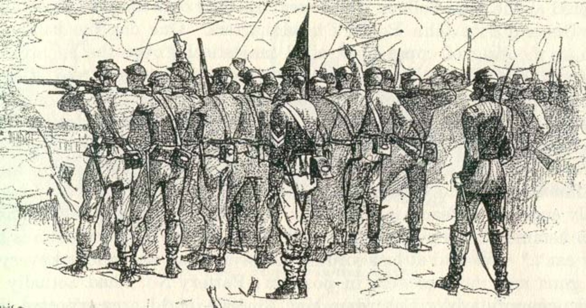 Sketch - The Firing Line at Lee's Mills, April 1862