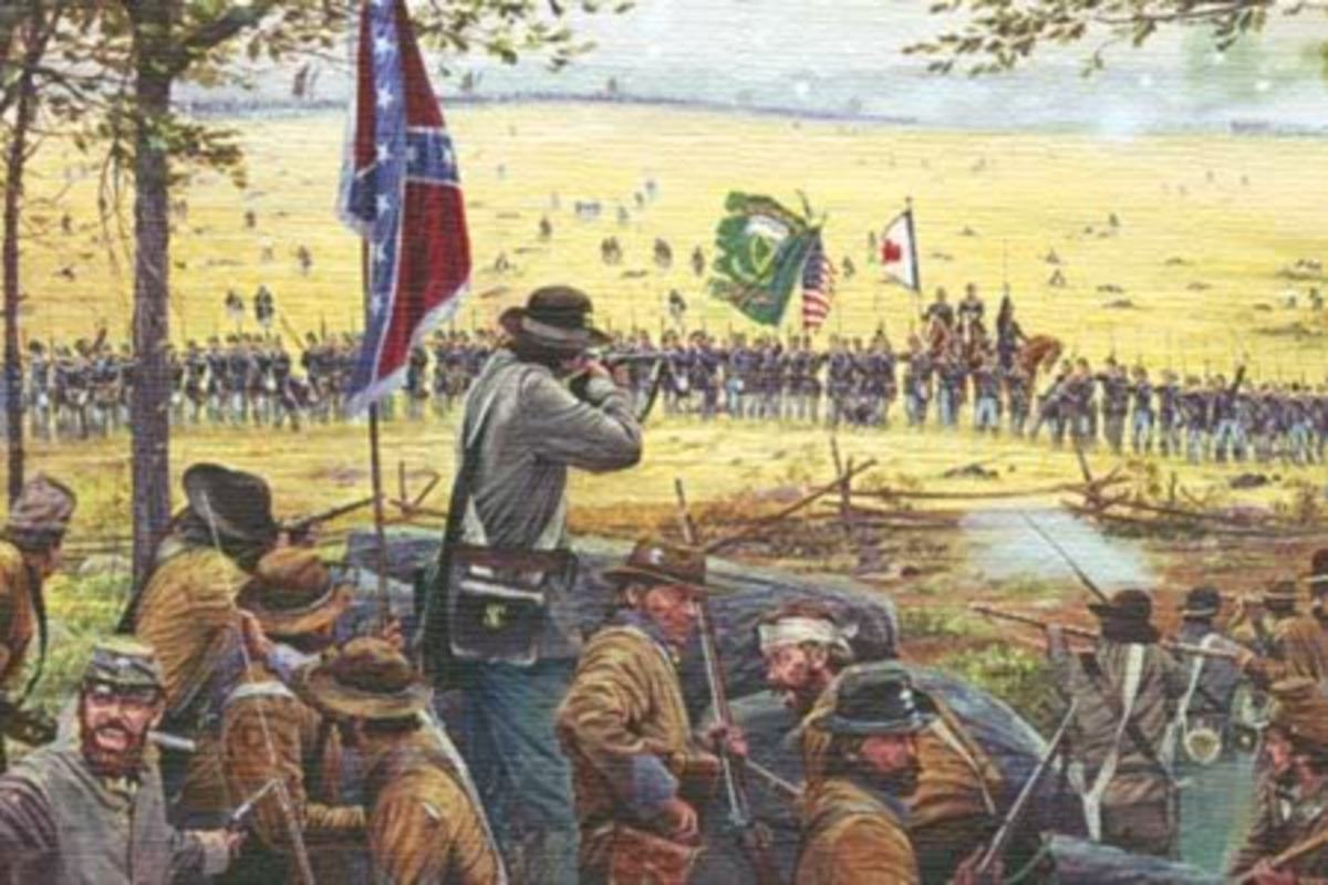 Painting - Union infantry (background) prepares to fire upon the enemy position
