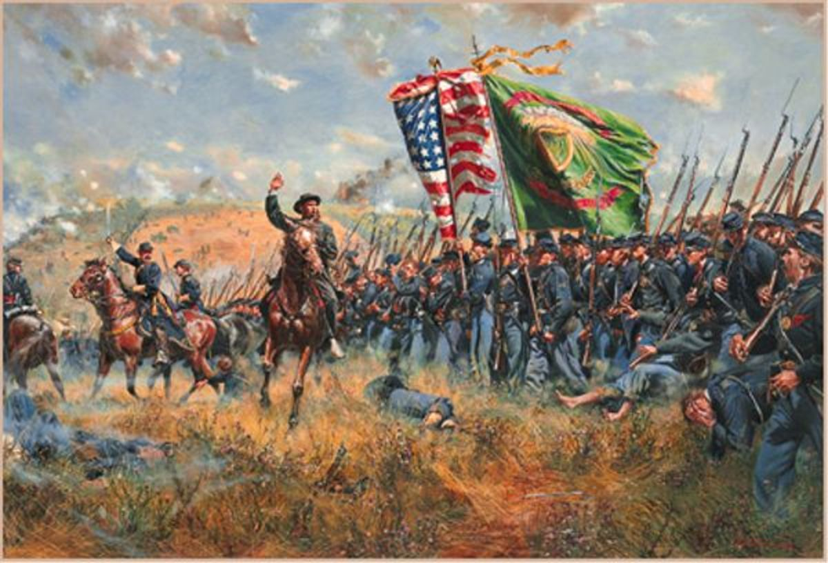 Painting - Irish Brigade, at Antietam, advances toward the enemy position; firearms are at Right-Shoulder Shift