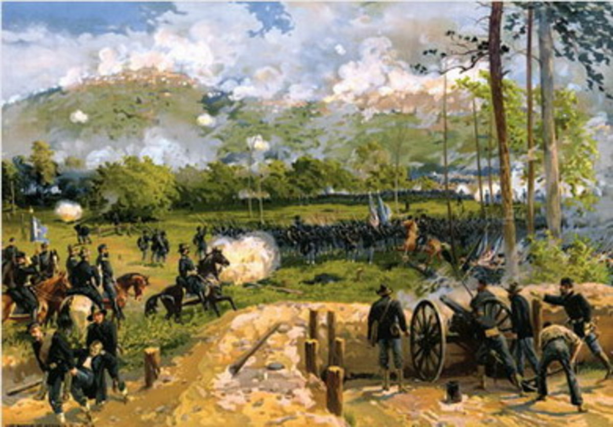 Painting - Union artillery fires upon Kennesaw Mountain, GA as infantry begins its advance