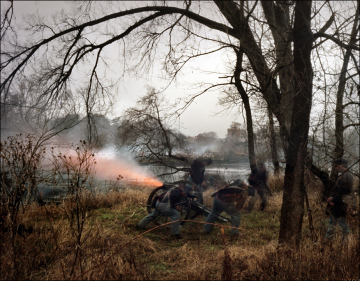 Living Historians fire their howitzer at Fredericksburg, VA