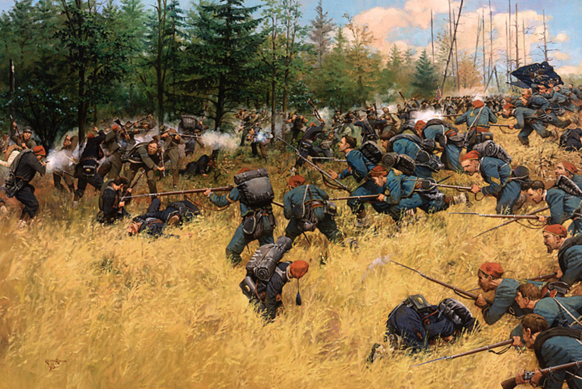 Painting - Union troops, at the double-quick, hit the enemy line