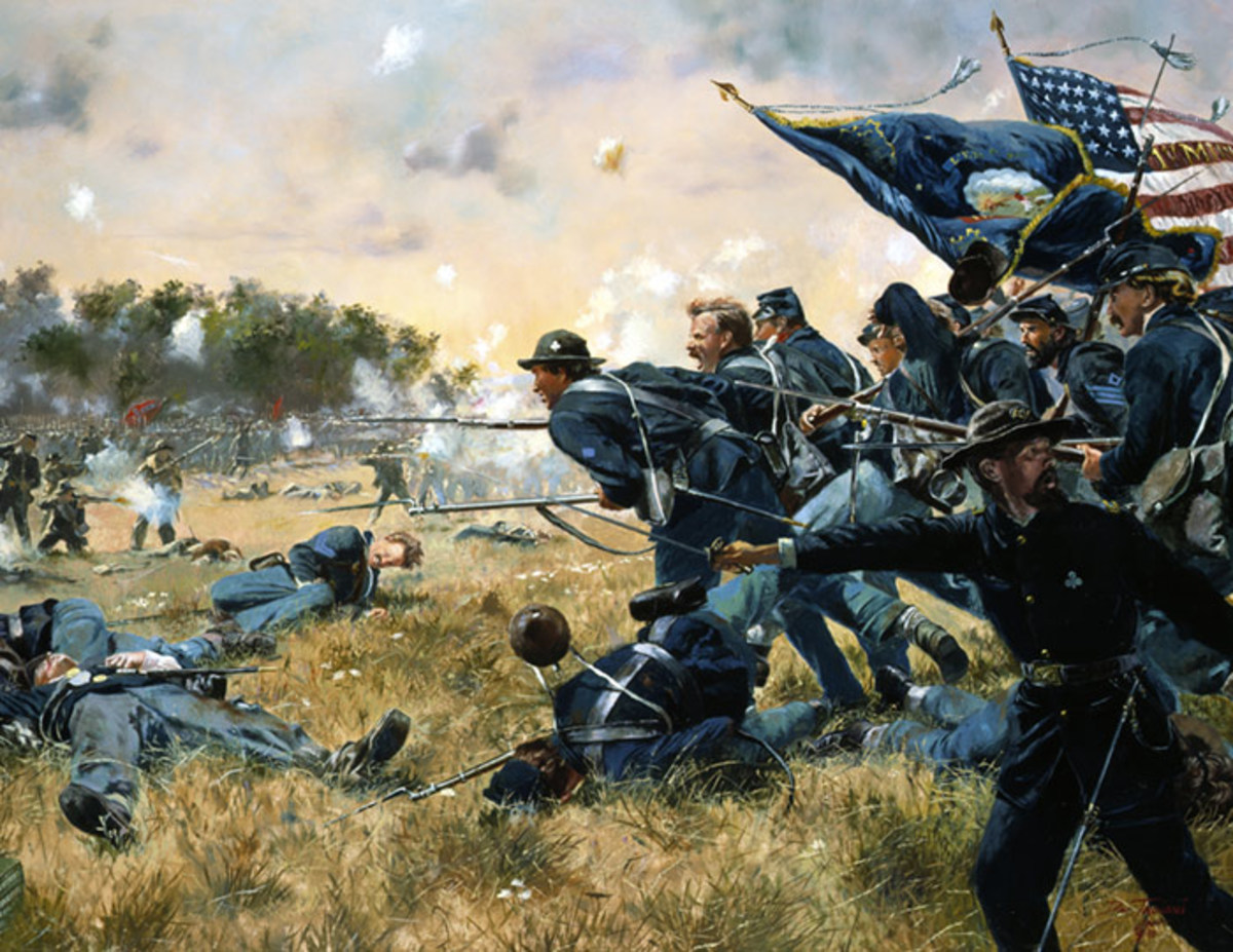 Painting - the 1st MN Volunteers launch a counterattack at Gettysburg in PA