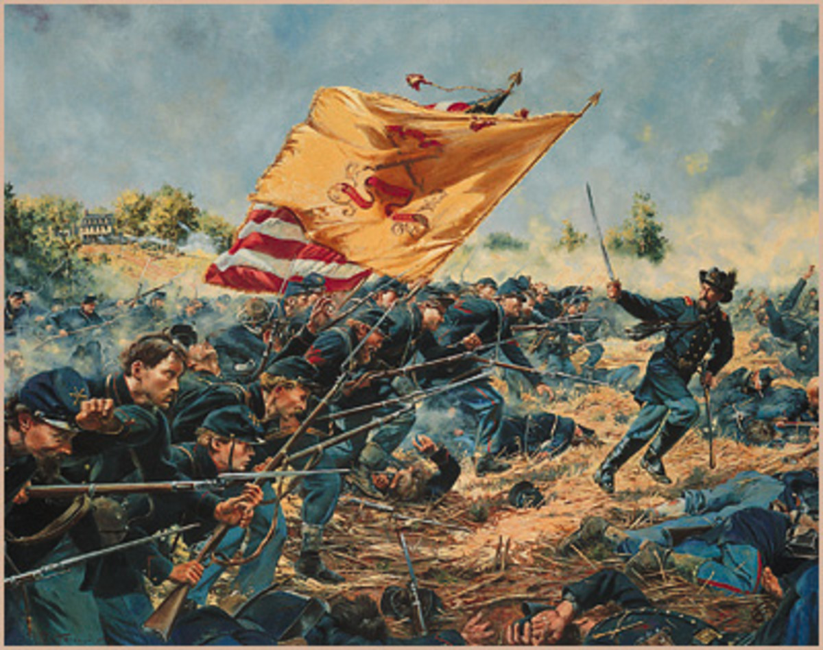 Painting - Maine troops, at Charge Bayonets, continue the attack on the enemy position