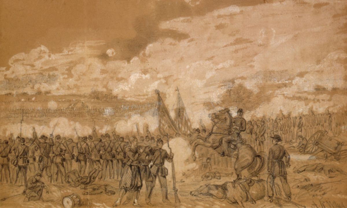 Sketch - Union troops fire from a low hilltop upon attacking enemy troops