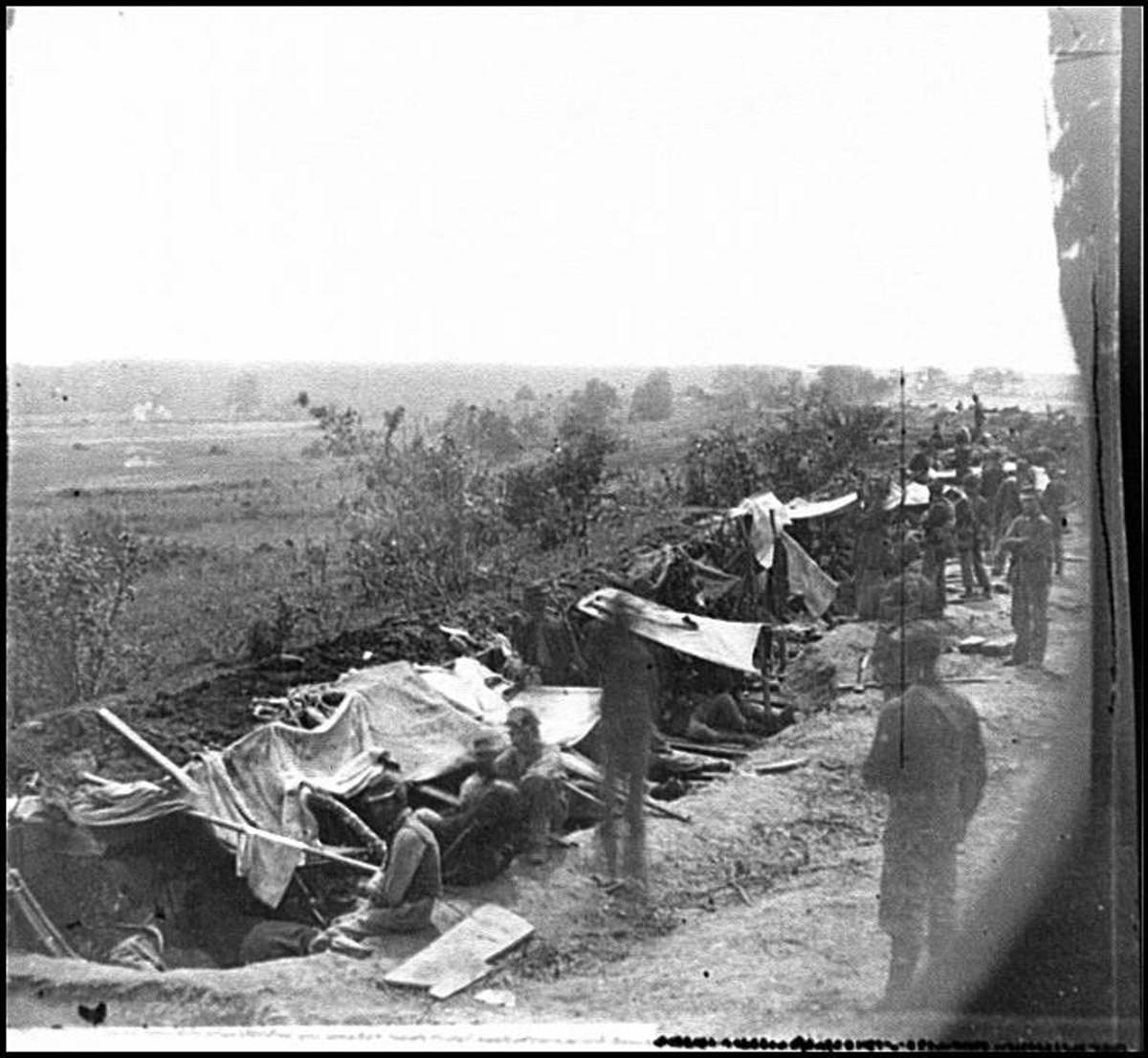 Union troops occupy a trench outside of Fredericksburg, VA