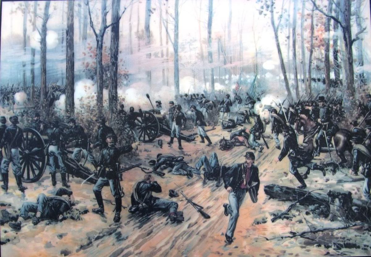 Painting - artillery fires upon enemy attacking infantry at Shiloh, TN