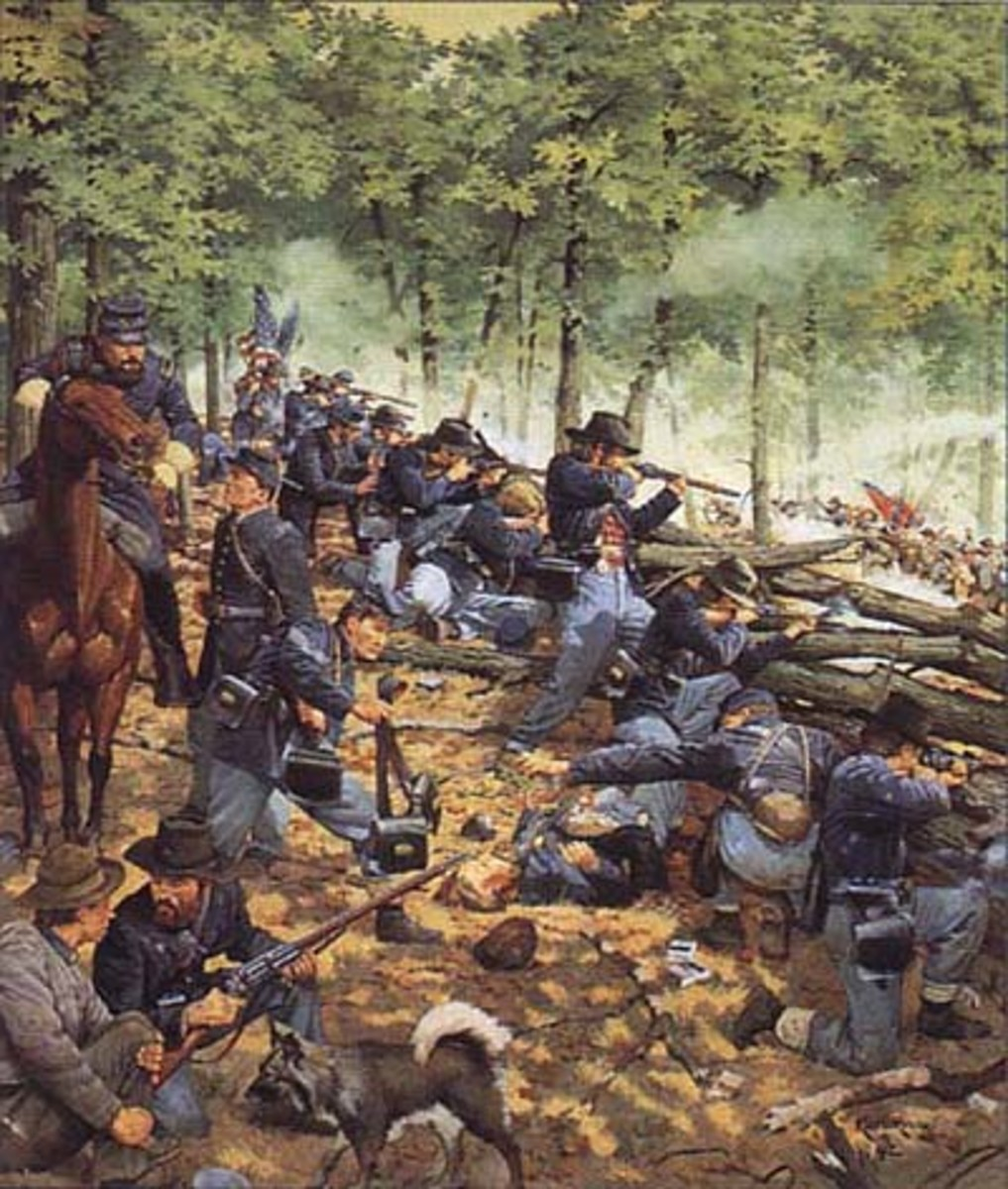 Painting - Union troops fire from behind a breastwork of stones and logs / fence rails at Chickamauga in GA