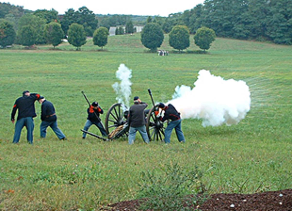 Living Historians engage in counterbattery fire against enemy artillery