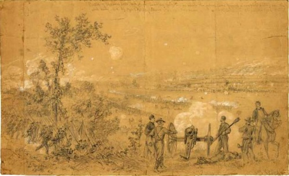 Sketch - an artillery battery fires over its infantry lines to strike the enemy at Malvern Hill, VA