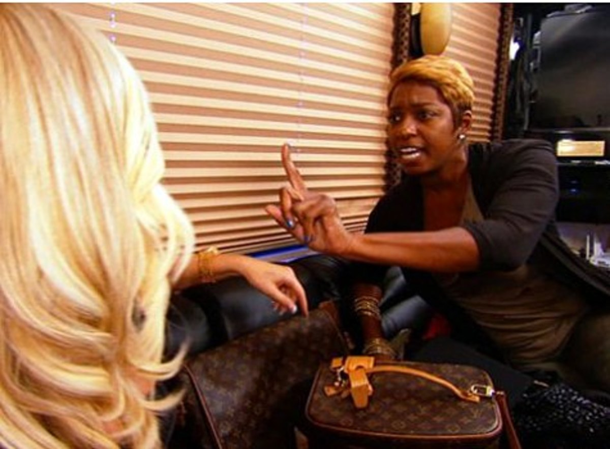 Nene being overtly confrontational with Kim about her voice.