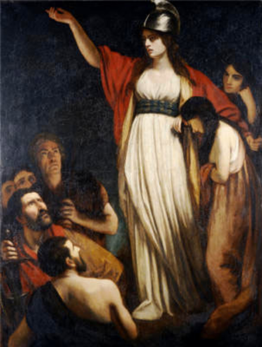 "Painting of Queen Bodicca by John Opie.  ""Boadicea Haranging the Britons."""