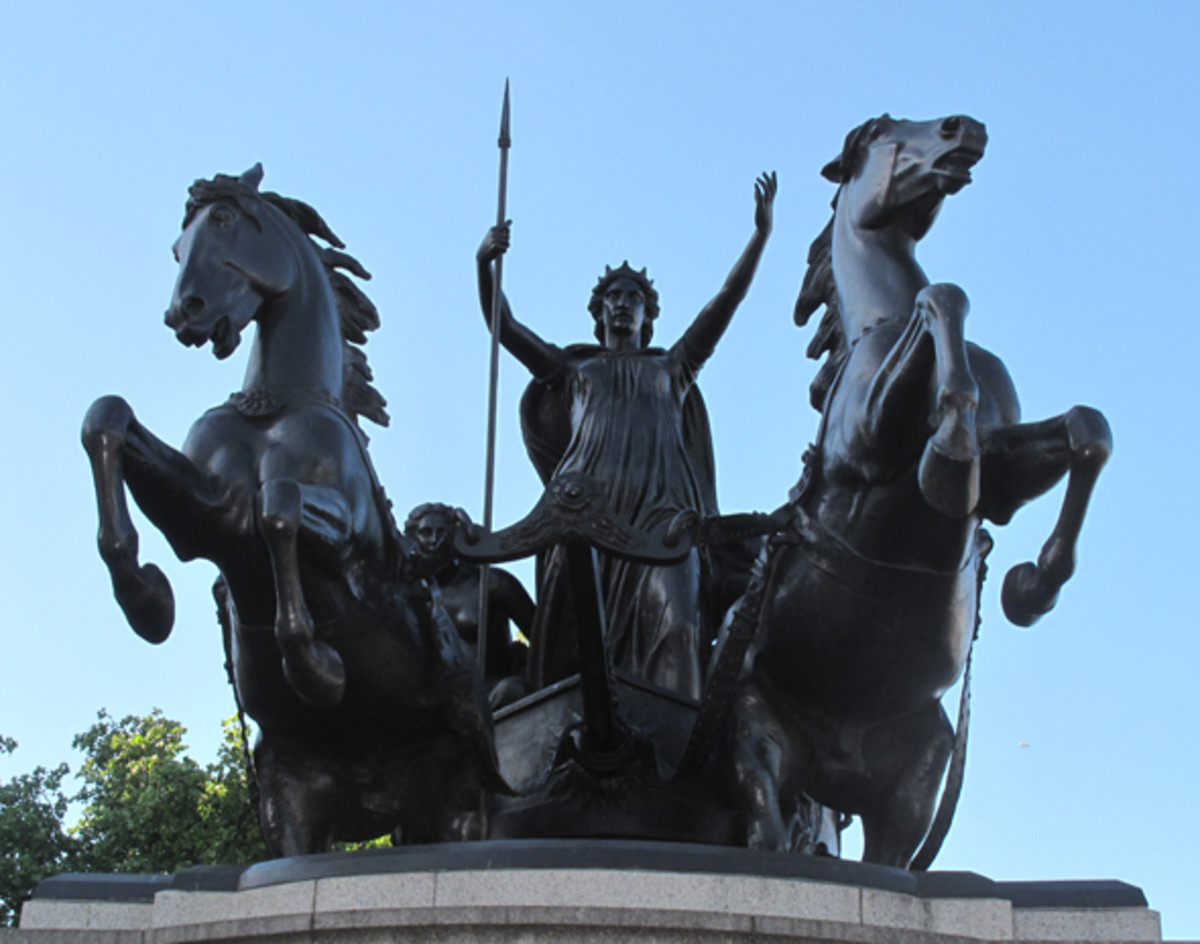 Statue of Boudicca, erected 1902, stands guard along the River Thames in London across from Big Ben and Westminster Bridge.