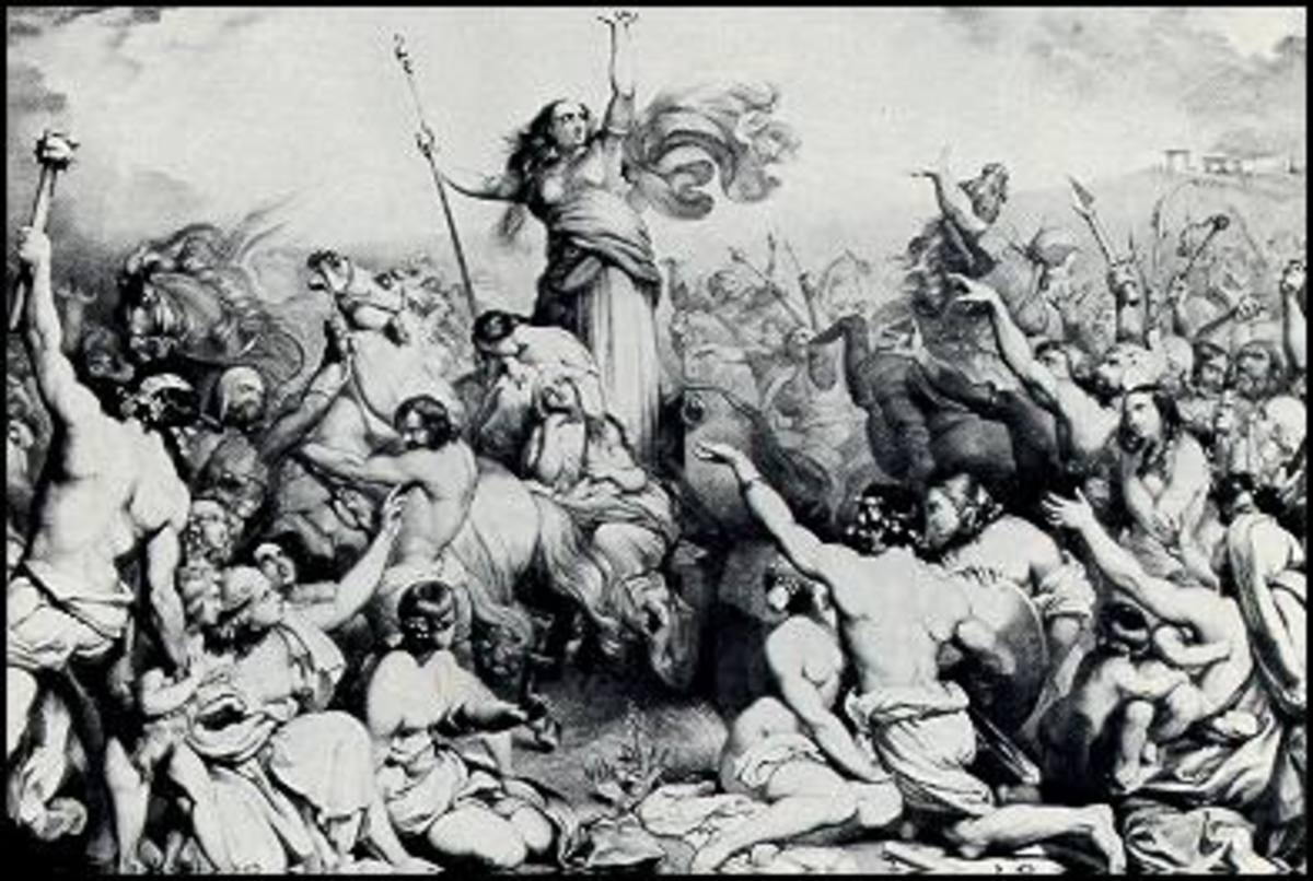 Drawing of Boudicca rallying her forces in battle with the Romans.