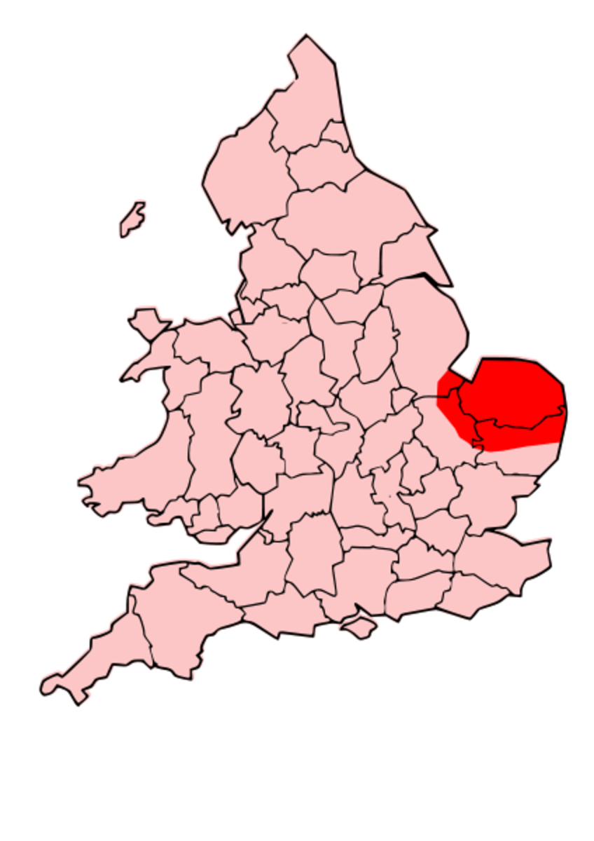Red shows the area of Celtic Iceni rule.  Southeastern England.
