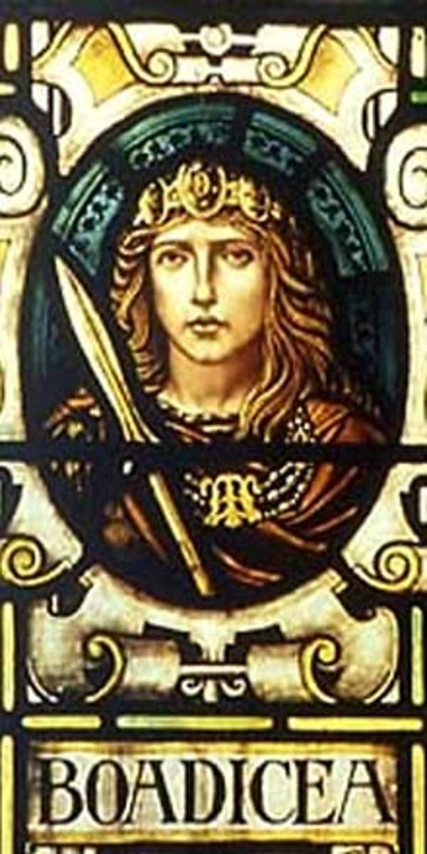 Stained glass window depicting Boudicca at the Colchester town hall in England.