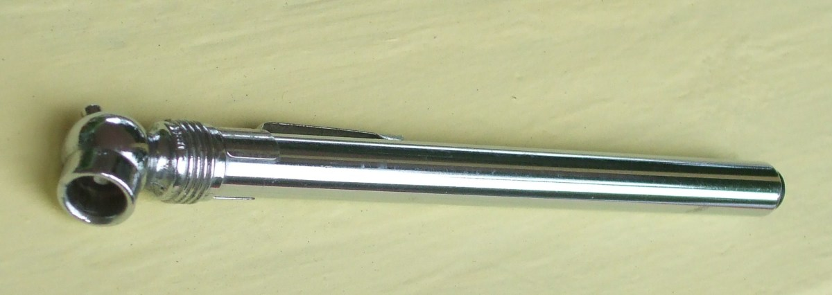 A traditional tire gauge.