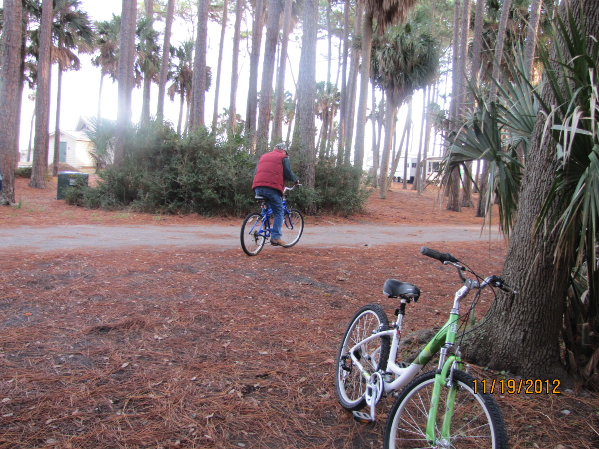 Bike riding in the park.
