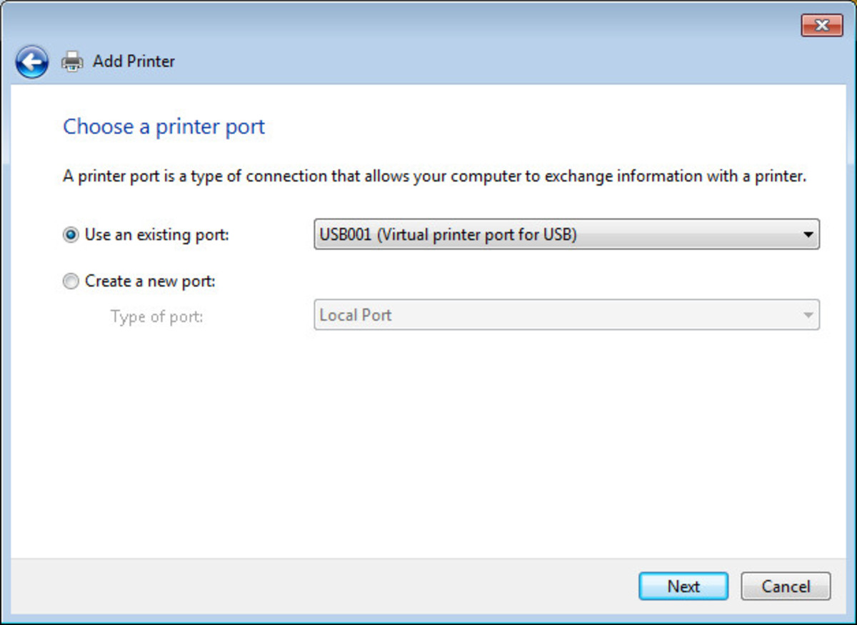 Use Virtual USB Printer Port