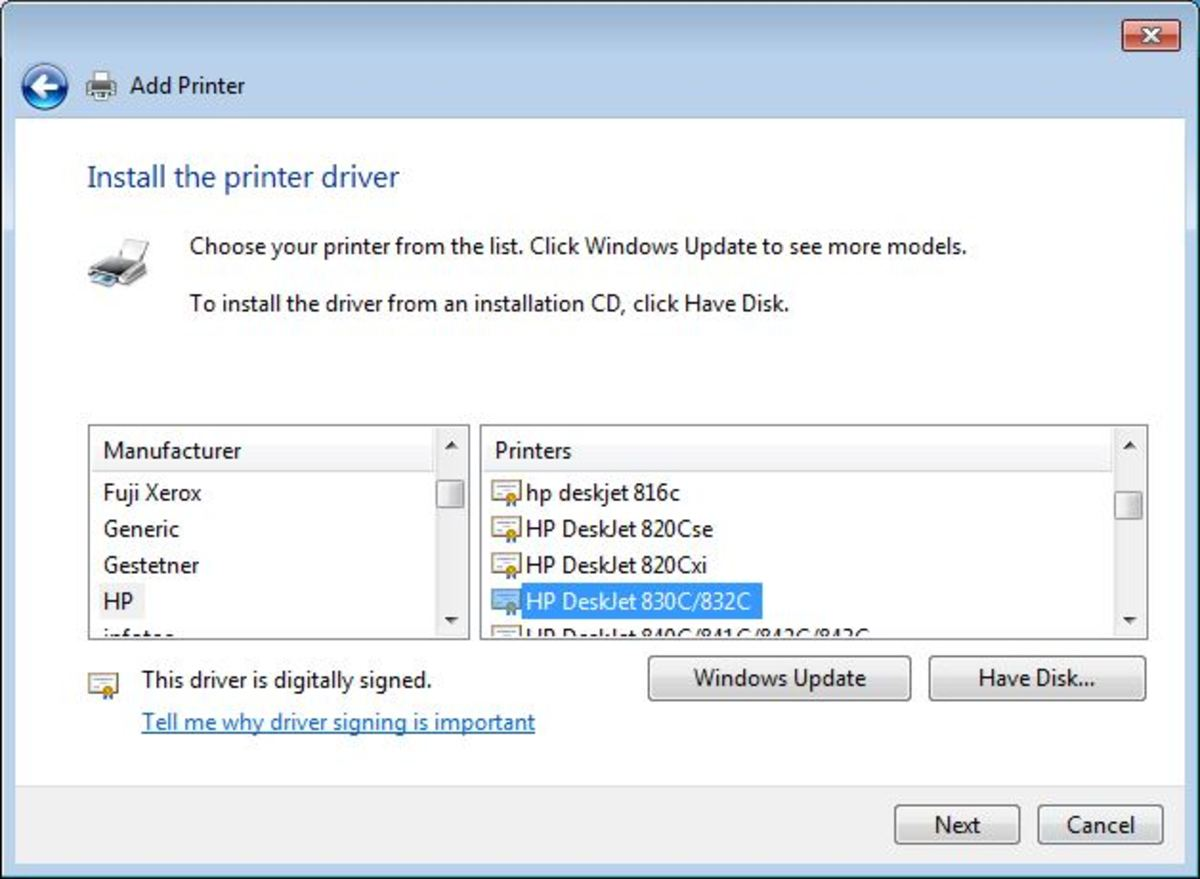 After Windows Update Does its thing, select the HP Deskjet 830c/832c from the HP category.