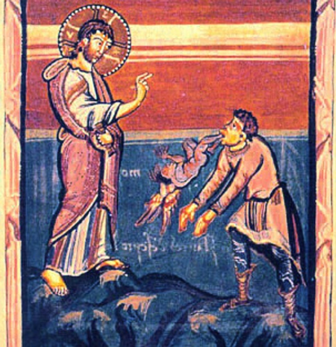 Jesus healing a demon-possessed man.