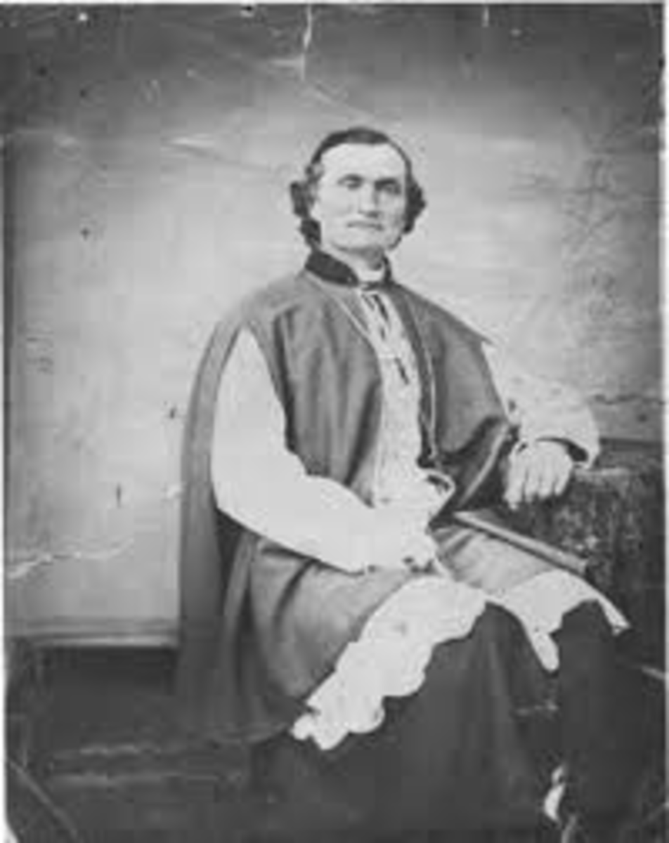 Bishop Jean Baptiste Lamy commissioned the construction of the Loretto Chapel in downtown Santa Fe, New Mexico.