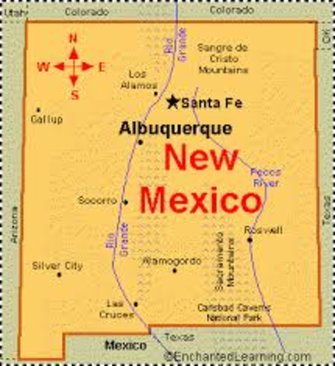 Santa Fe is located about 1 hour north of Albuquerque, New Mexico.