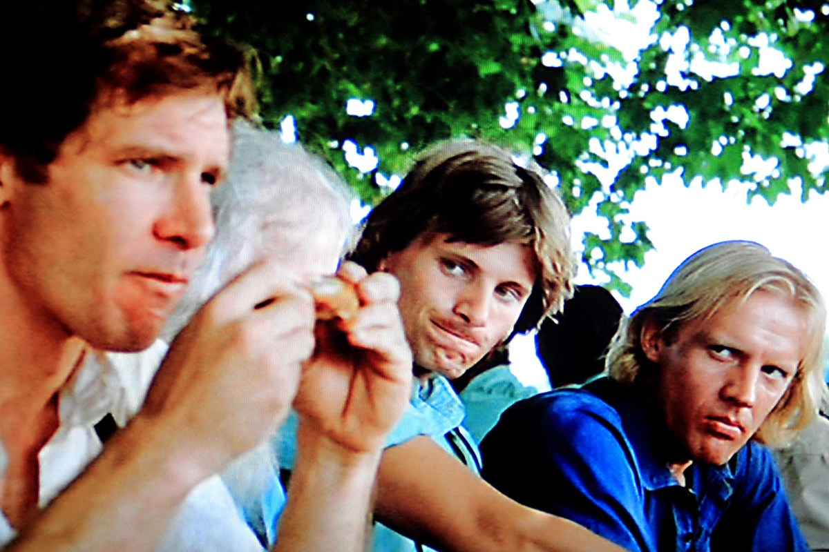 During a quiet moment at a communal meal, Daniel Hochleitner regards Book with some suspicion. And Moses Hochleitner - played by Viggo Mortensson - looks on with curiosity