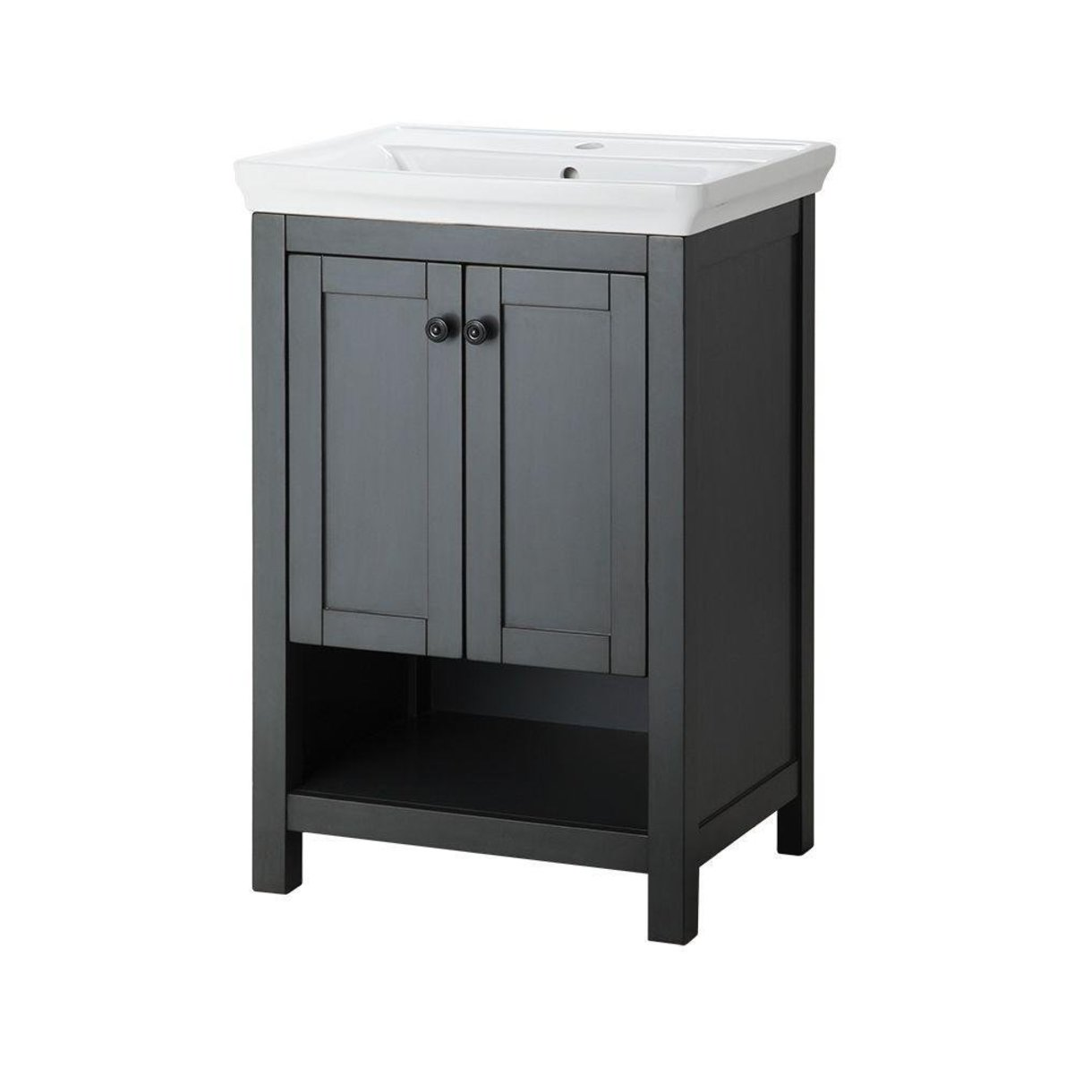 The hottest trends in bathroom design are combined into this affordable vanity under $500.