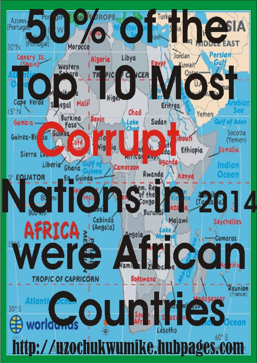"Five African countries made it in the top ten most corrupt nations in the world in the year 2014. The background of the picture is designed using map of Africa. The red color used to design the word ""corruption"" is a sign that corruption is bad."