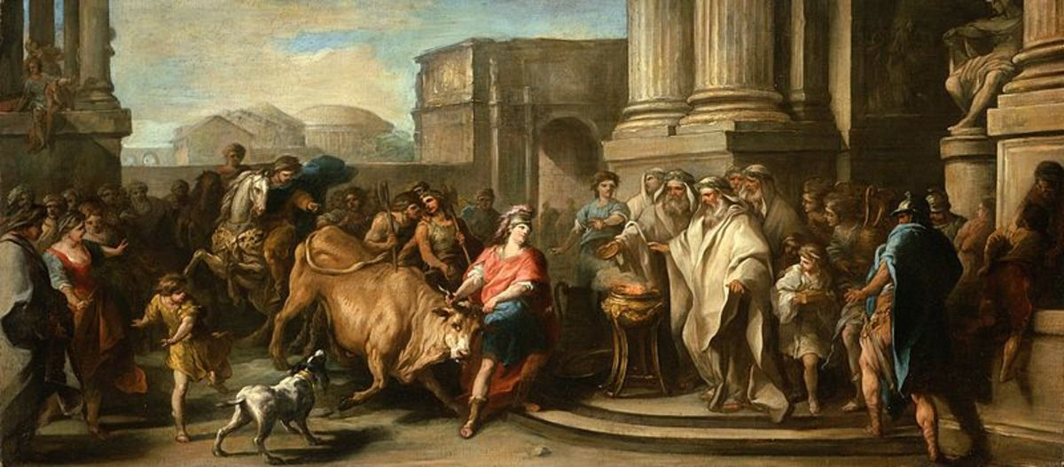 Theseus Returns with the Marathonian Bull - Charles-André Vanloo - PD-art-100