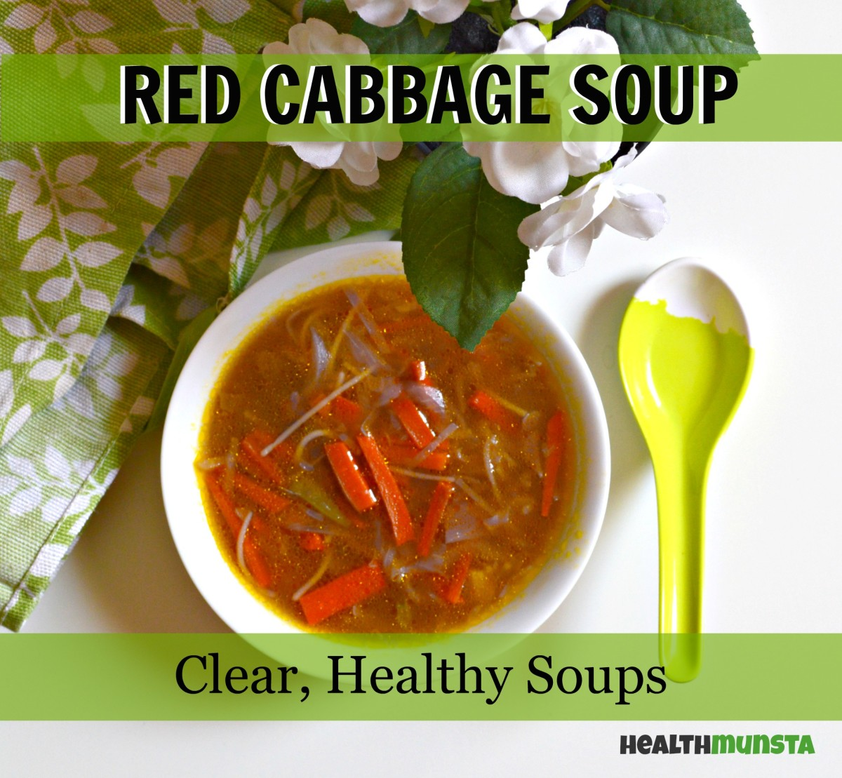 A light yet hearty red cabbage soup recipe with carrots and french beans.