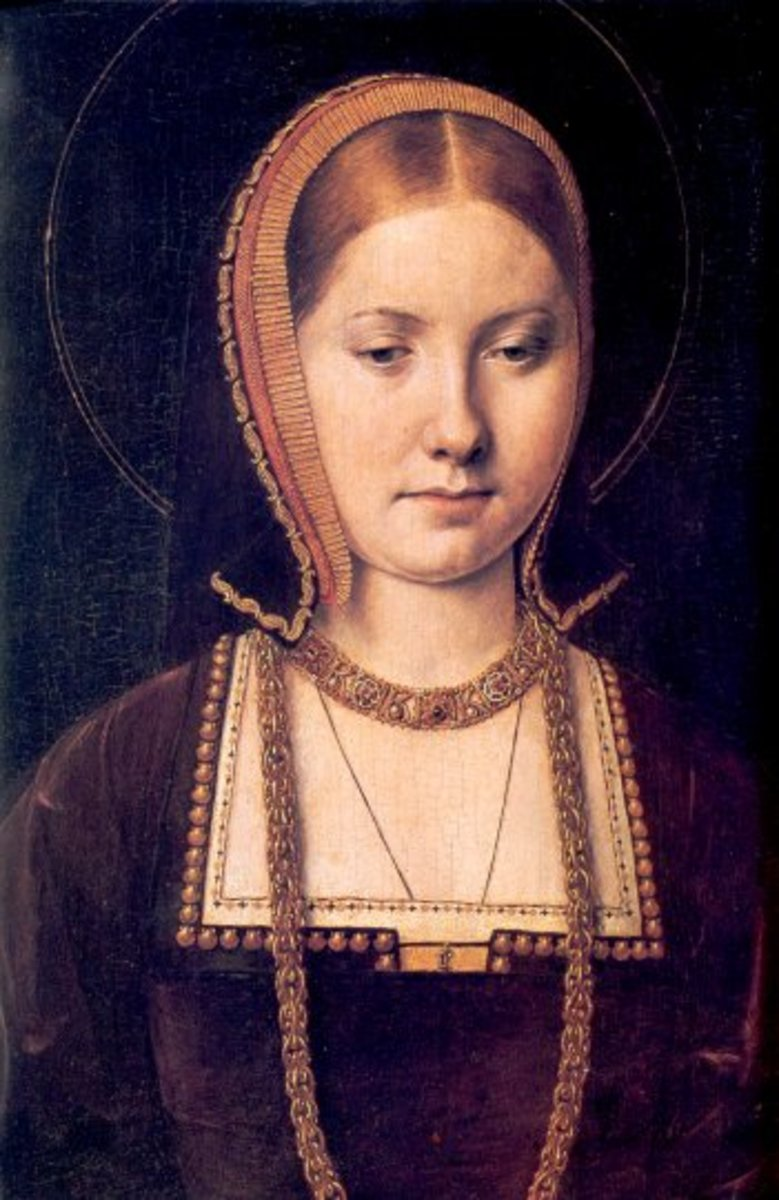 Portrait of a young Catherine of Aragon by Michael Sittow c. 1502.  Catherine was considered a great beauty at the time and by Henry VIII.