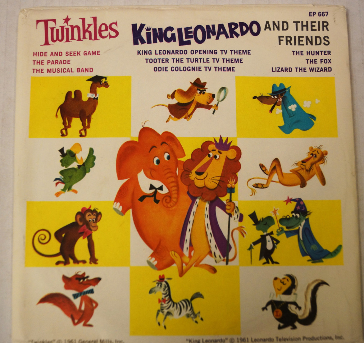 Record featuring cereal mascot Twinkles the Elephant alongside King Leonardo