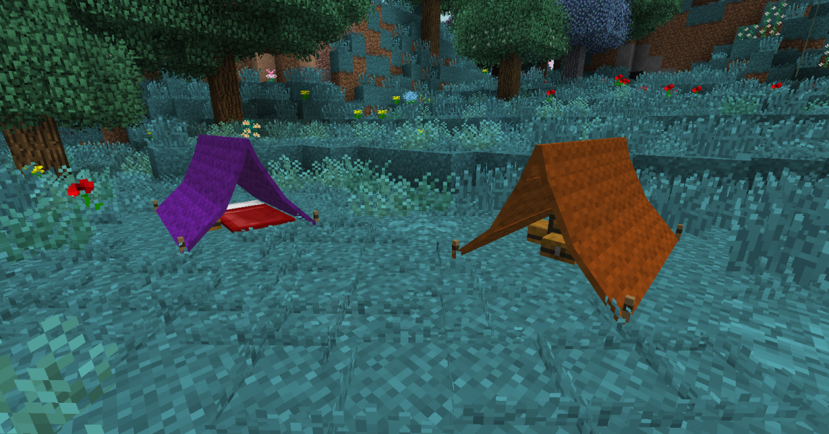 Tents can be dyed in any color, as well as given a number of useful upgrades like lanterns and chests.