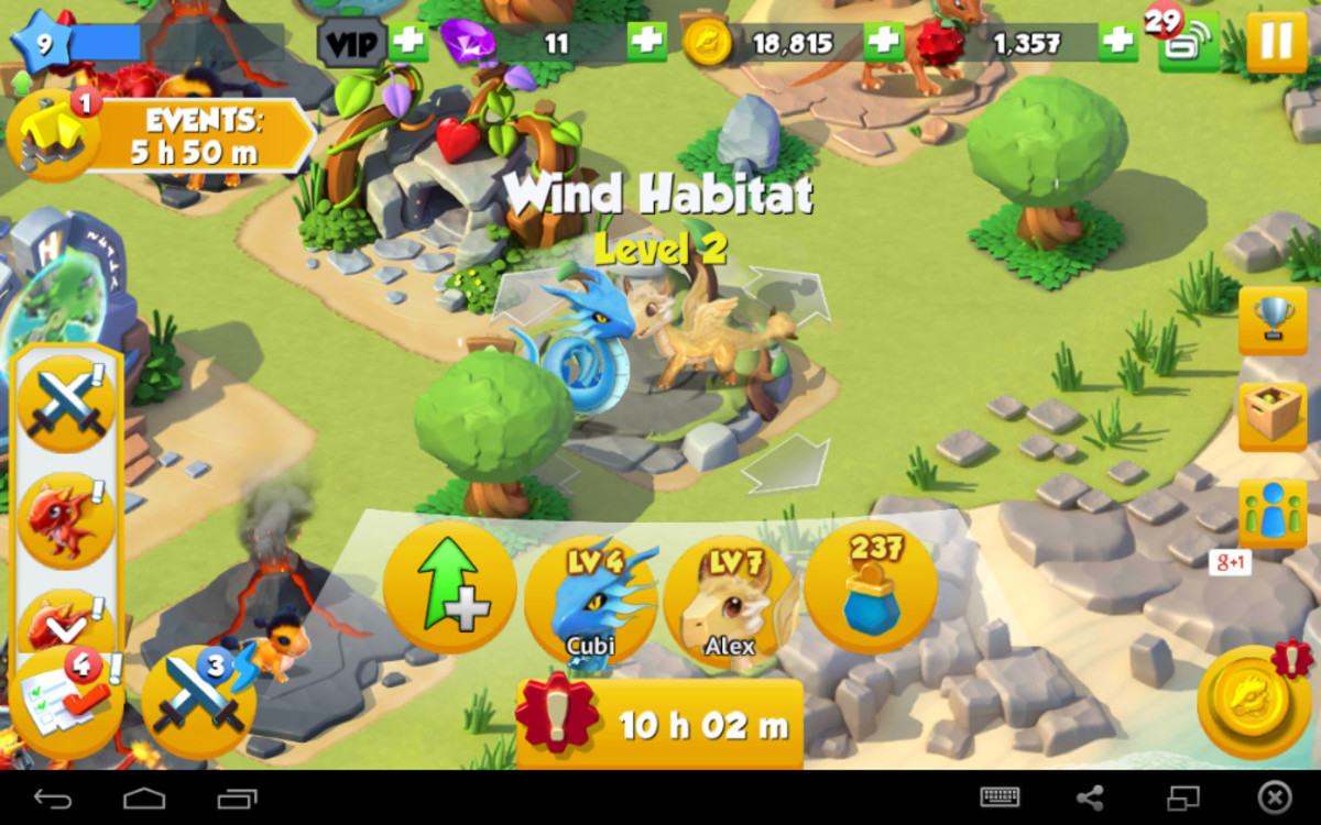 My wind habitat that will support my wind dragons, upgrade this to keep more dragons at this habitat.