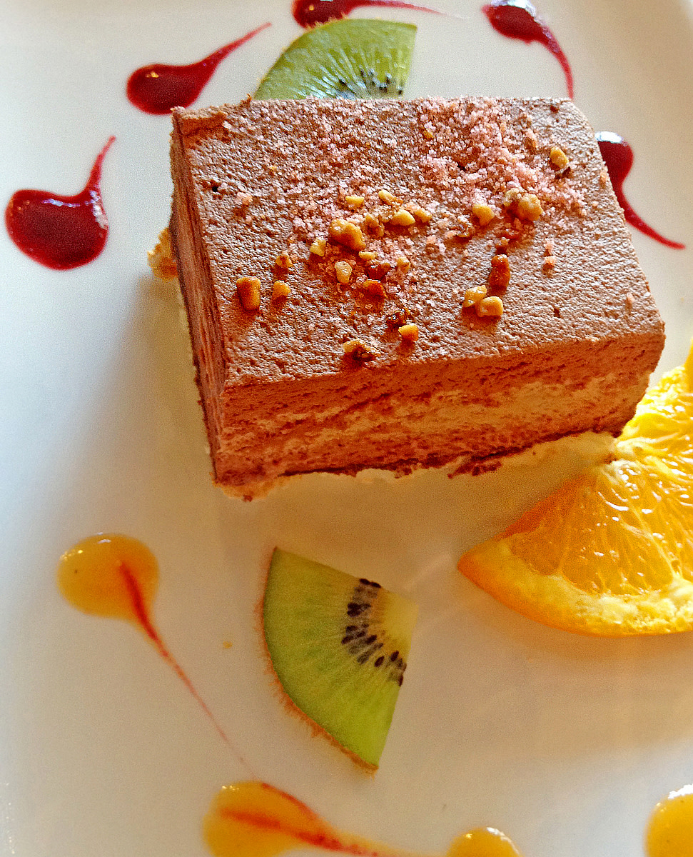 Chocolate mousse cake from a restaurant in the Provence.