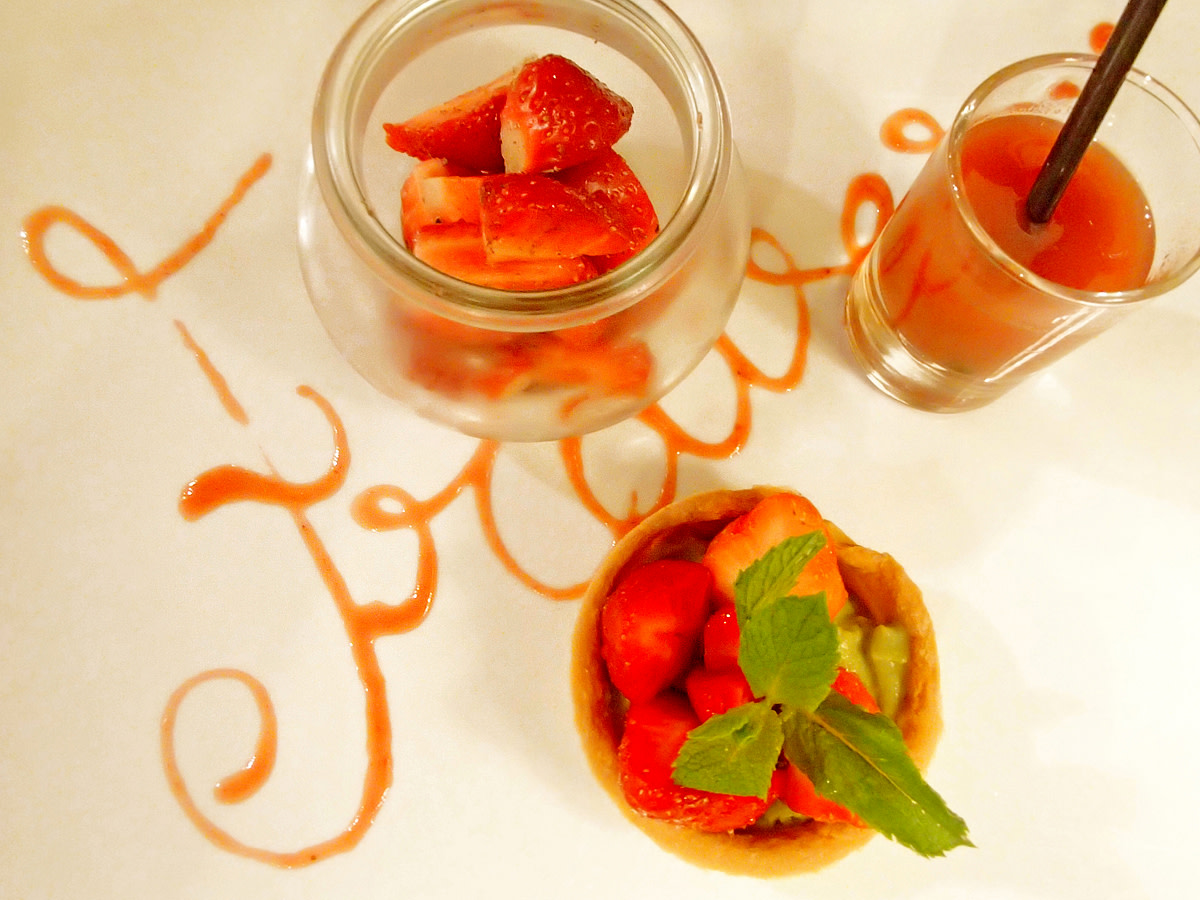 Variation on a theme strawberry dessert at a restaurant in the Provence.