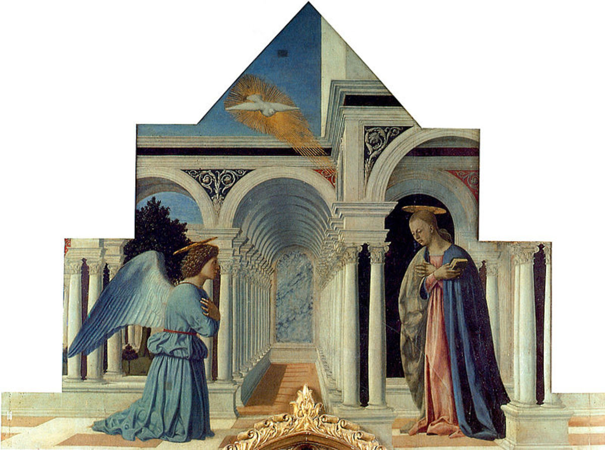 Piero Della Francesca, Polyptych of Perugia - Announciation (1460-1470), Urbino Galleria Nazionale dell'Umbria
