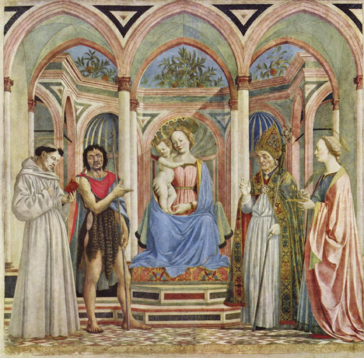 Domenico Veneziano, Pala s Santa Lucia de' Magnoli (1445), Florence Galleria degli Uffizi