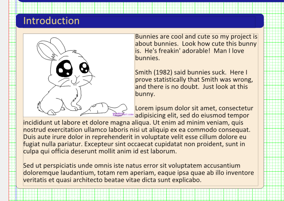 Introduction example.  Notice the rounded edges of the rectangles, and the wrapping text around the cute little bunny.