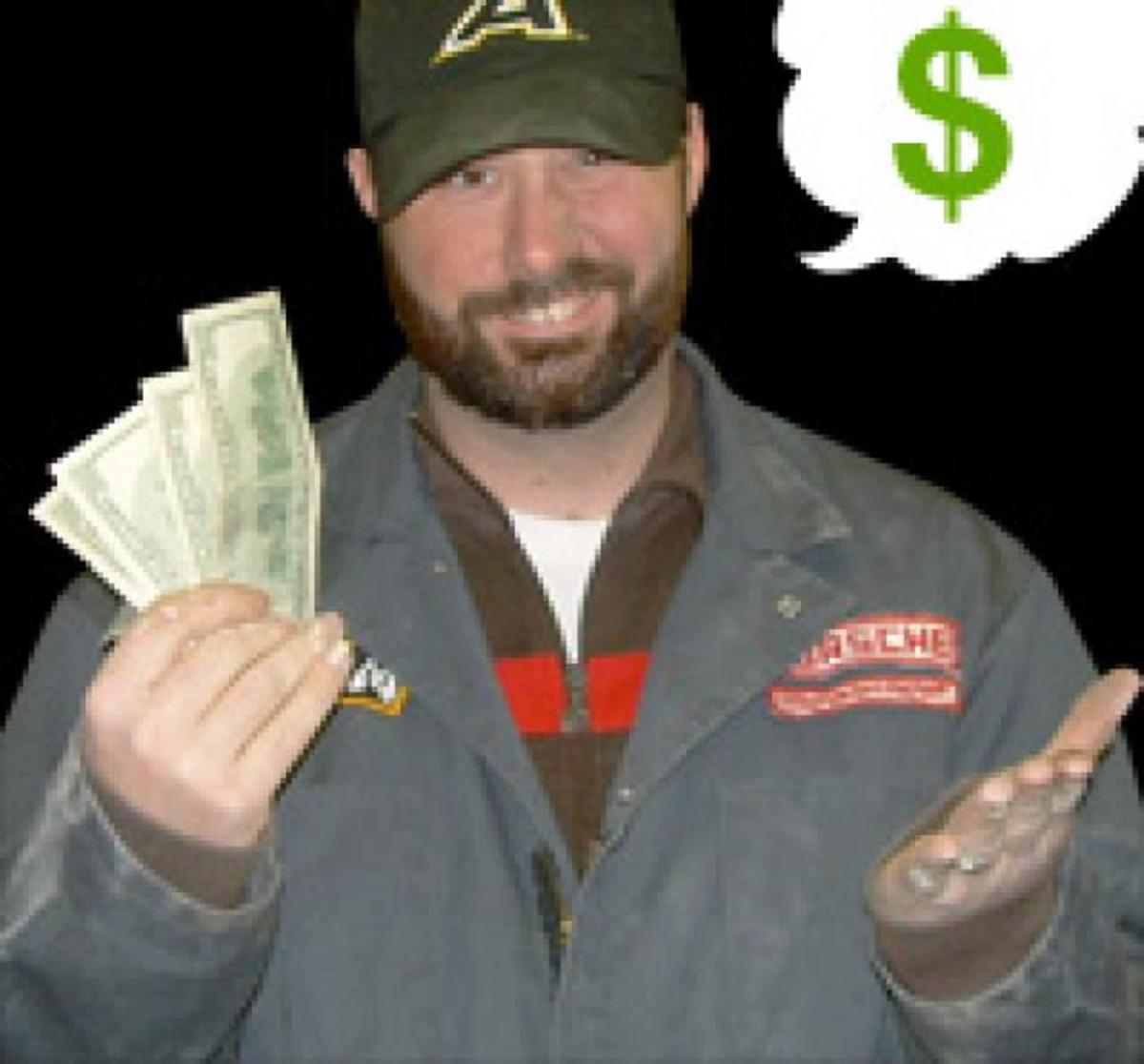 Beating you out of your hard-earned cash is the only thing on the mind of a shady auto mechanic