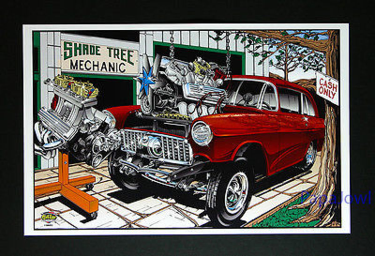 No truer painting has ever been that defines an honest shade tree mechanic